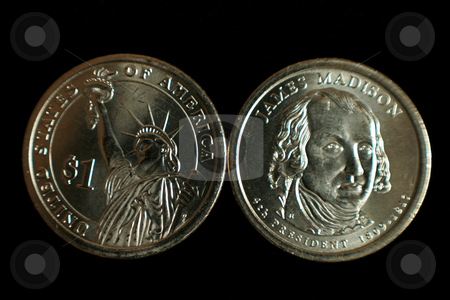 Dollar Coin stock photo, A one dollar James Madison and statue of liberty US coin by Kevin Tietz