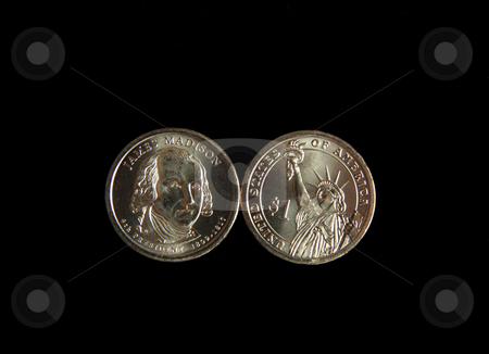 James Madison Coin stock photo, A one dollar James Madison and statue of liberty US coin by Kevin Tietz