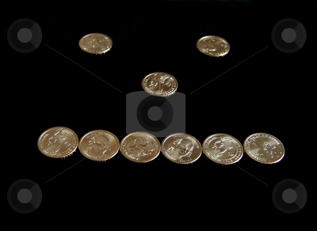 Plain face stock photo, A plain face made out of dollar coins by Kevin Tietz