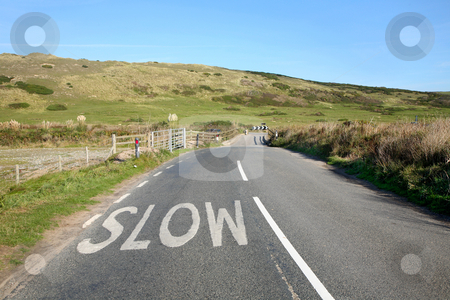 An English country road in Cornwall and a slow sign. stock photo, An English country road in Cornwall and a slow sign. by Stephen Rees