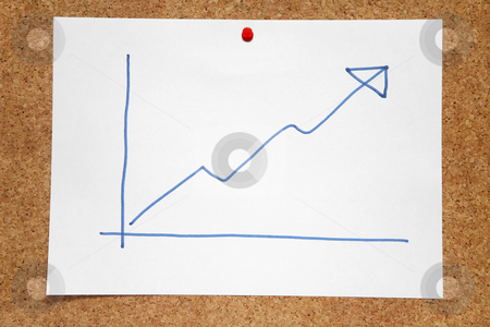 A hand drawn positive profits chart on a cork notice board. stock photo, A hand drawn positive profits chart on a cork notice board. by Stephen Rees