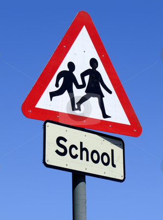 British School roadside warning sign. stock photo, British School roadside warning sign. by Stephen Rees