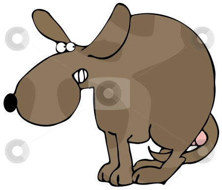 Scared Dog stock photo, This illustration depicts a dog in a frightened pose looking behind him. by Dennis Cox