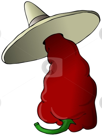 Mexican Hot Pepper stock photo, This illustration depicts a hot chili pepper wearing a sombrero. by Dennis Cox