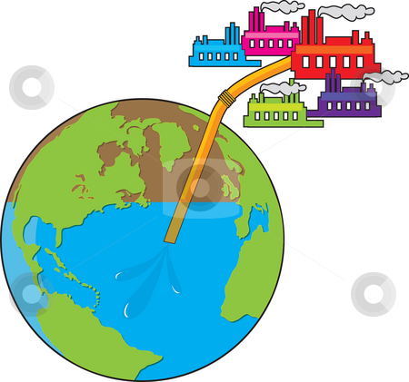 Earth Losing Water  stock photo, View of the globe with a straw in it - several industrial type buildings are sucking the water from the earth through the straw by Maria Bell