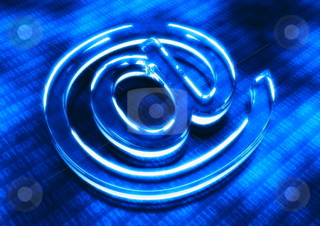 Internet Icon stock photo, An internet icon with blue binary data background by Nmedia Studio