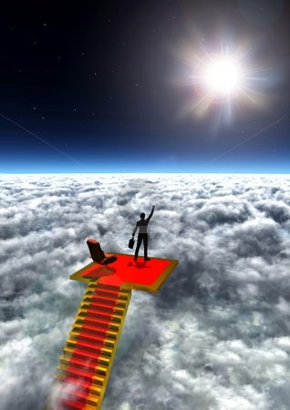 Ultimate Success  stock photo, Illustration of a successful businessman standing in victory on the top of the world. by Nmedia Studio