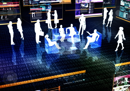 Virtual Meeting stock photo, Ebusiness Meeting illustrated with people doing activity in futuristic virtual world. by Nmedia Studio