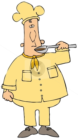 Tasting Chef stock photo, This illustration depicts a chef tasting sauce from a spoon. by Dennis Cox