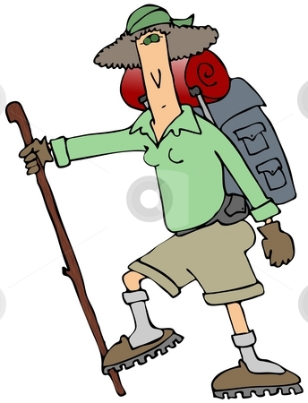 Female Hiker stock photo, This illustration depicts a skinny female hiker with a backpack and walking stick. by Dennis Cox