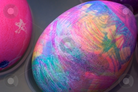 Designer Egg stock photo, Close-up of dyed Easter eggs. by Charles Jetzer