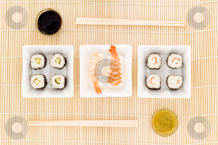 Sushi stock photo, A plate with different kinds of sushi by Petr Koudelka