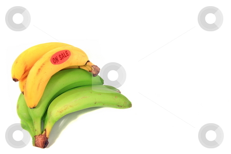 Banana On sale stock photo, Green and yellow banana on sale by Jack Schiffer