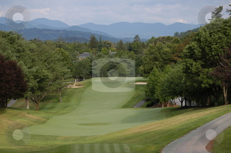 Golf fairway stock photo, A long golf fairway in the North Carolina mountains by Tim Markley