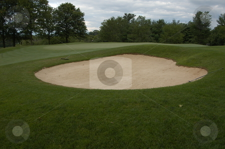 Golf sandtrap stock photo, A sandtrap on a golf course in the North Carolina mountains by Tim Markley
