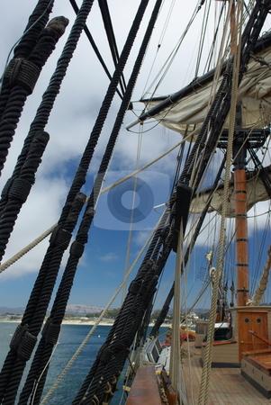 Sailing Into Monterey Bay California stock photo, Sailing into Montery Bay, California via 18th century sailing ship by Lynn Bendickson