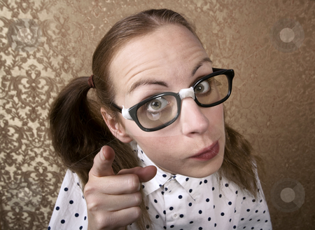Nerdy Girl stock photo, Wide Angle Portrait of a Nerdy Girl Pointing by Scott Griessel