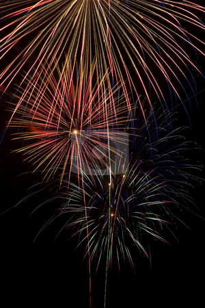 Fireworks stock photo, Long exposure closeup of a multiple fireworks explosions by Scott Griessel