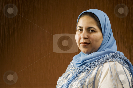 Muslim Woman stock photo, Portrait of a Muslim Woman in a Blue Head Scarf by Scott Griessel