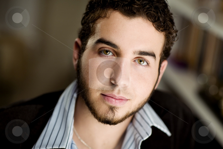 Handsome Young Man stock photo, Portrait of handsome young man with beard by Scott Griessel
