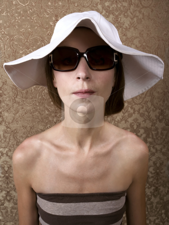 Woman with Sunglasses stock photo, Young Woman with Sunglasses and a Floppy White Hat by Scott Griessel