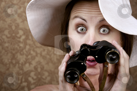 Woman with Sunglasses and Binoculars stock photo, Young Woman with Sunglasses and a Floppy White Hat Looking through Binoculars by Scott Griessel