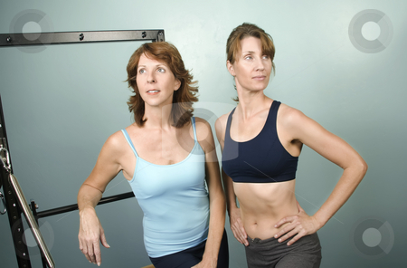 Portrait of Personal Trainers stock photo, Portrait of Two Pretty Personal Trainers in a Gym by Scott Griessel