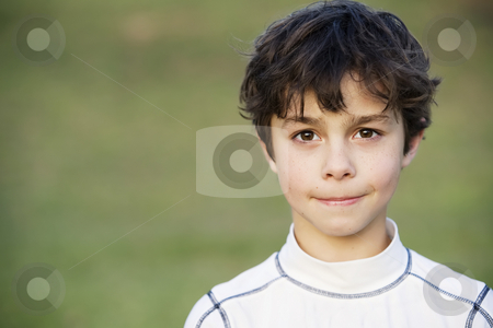 Young Boy stock photo, Portrait of a Young Teen Boy with Dark Curly hair by