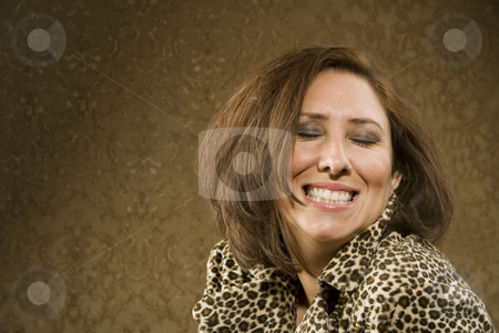 Hispanic Woman with a Big Small stock photo, Hispanic Woman in Leopard Print Coat with Big Hair by Scott Griessel