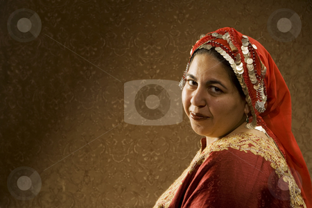 Muslim Woman stock photo, Portrait of a Muslim Woman in a Red Head Scarf by Scott Griessel