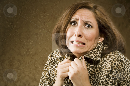 Frightened Hispanic Woman stock photo, Portrait of a Hispanic woman recoiling in fear by Scott Griessel