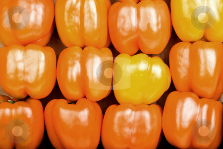 Red Bell Peppers stock photo, Stacked Bright Red Bell Peppers Filling the Frame by Scott Griessel