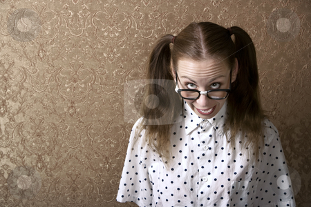 Nerdy Girl stock photo, Cute Nerdy Girl Leaning Against a Wall by Scott Griessel