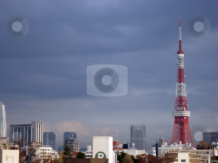 Tokyo tv tower stock photo, Red and white landmark tv tower in tokyo, japan by Stephen Gibson