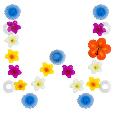 The Letter W stock photo, A letter of the alphabet made of wax flowered candles, isolated against a white background by Richard Nelson