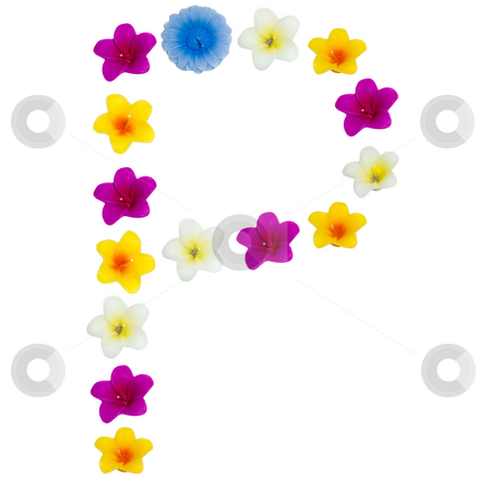 The Letter P stock photo, A letter of the alphabet made of wax flowered candles, isolated against a white background by Richard Nelson