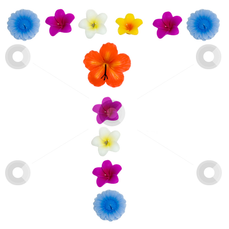 The Letter T stock photo, A letter of the alphabet made of wax flowered candles, isolated against a white background by Richard Nelson