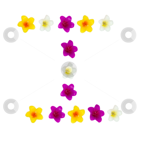 The Letter I stock photo, A letter of the alphabet made of wax flowered candles, isolated against a white background by Richard Nelson