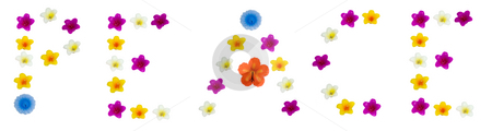 Peace stock photo, The word peace made with wax flowers, isolated on a white background by Richard Nelson