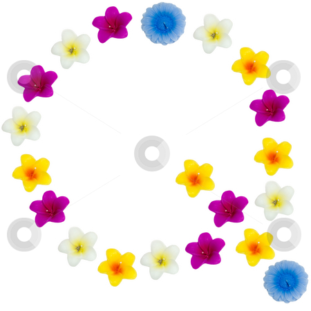 The Letter Q stock photo, A letter of the alphabet made of wax flowered candles, isolated against a white background by Richard Nelson