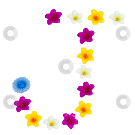 The Letter J stock photo, A letter of the alphabet made of wax flowered candles, isolated against a white background by Richard Nelson