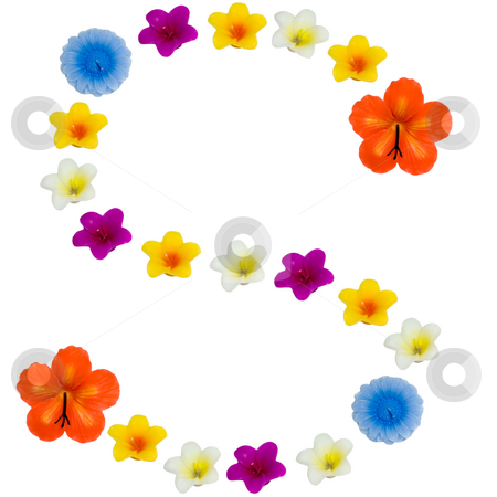 The Letter S stock photo, A letter of the alphabet made of wax flowered candles, isolated against a white background by Richard Nelson