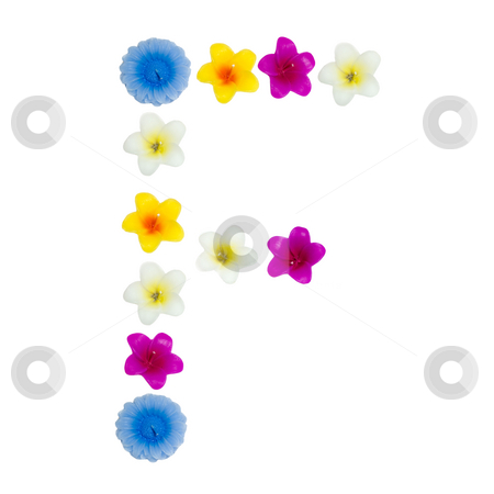 The Letter F stock photo, A letter of the alphabet made of wax flowered candles, isolated against a white background by Richard Nelson