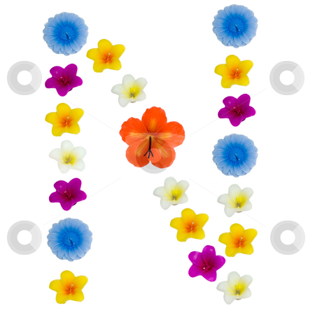 The Letter N stock photo, A letter of the alphabet made of wax flowered candles, isolated against a white background by Richard Nelson