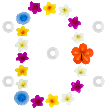 The Letter D stock photo, A letter of the alphabet made of wax flowered candles, isolated against a white background by Richard Nelson