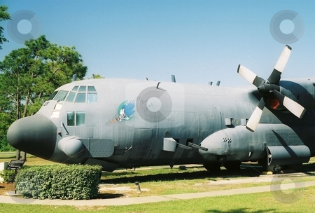 AC-130 Spectre stock photo, This is a gunship with guns below the wings by Ray Carpenter