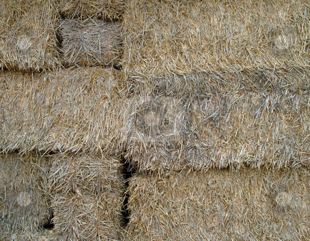 Close up of straw bales stock photo, Close up of some bales of straw. by Martin Crowdy