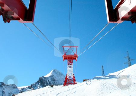 Alpine ski lft stock photo, Details on alpine ski lift in Switzerland. by Martin Crowdy