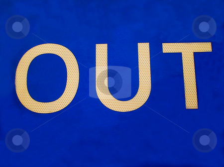 Blue Out Sign stock photo, Close up of blue sign saying out. by Martin Crowdy