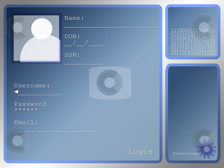 Large Blue Login Screen Layout With Portrait Box stock photo, Large Blue Login Screen Layout With Portrait Box by Robert Davies